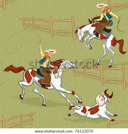 Pattern with cowboys - stock vector