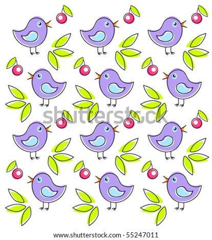 Pattern with cute birds. Vector