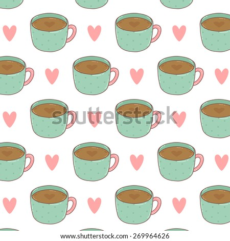 pattern with cute cartoon cup of coffee with hearts on white background. can be used like pattern for wrapping paper, textile, notebook covers, greeting cards and birthday invitations - stock vector