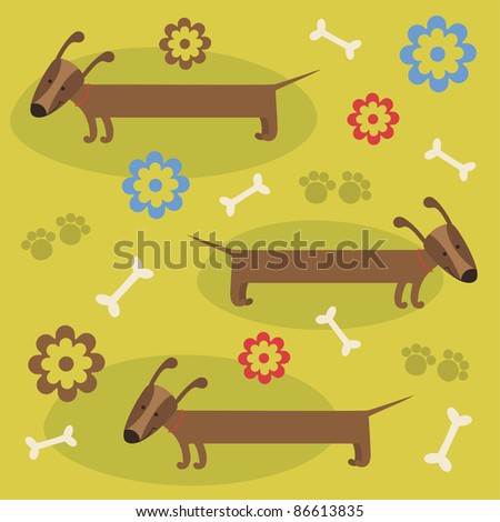 pattern with cute dog. vector illustration - stock vector