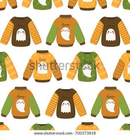 Pattern Cute Halloween Sweaters On White Stock Vector 700373818 ...
