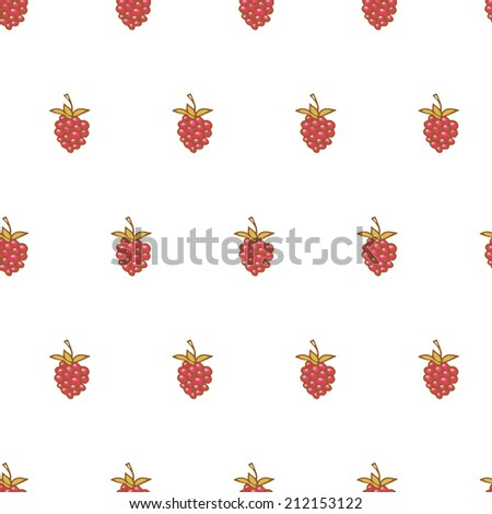 Pattern with cute raspberries - stock vector