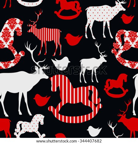 Pattern with deers and rocking horses Seamless christmas background Vector illustration - stock vector