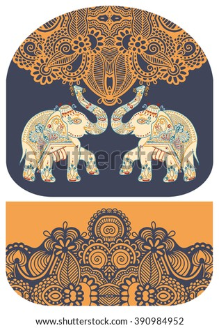pattern with elephant of purse money design, you can print on fabric to do some sewing a wallet or handbag, vector illustration - stock vector