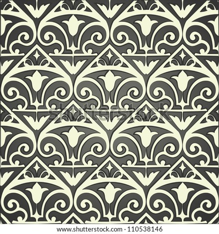 Pattern with floral and geometrical ornament. Vector decorative background. - stock vector