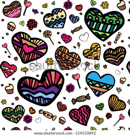 Pattern with funny hearts and candy - stock vector