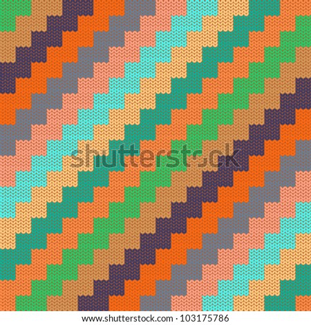 Pattern with knitted zigzag - stock vector