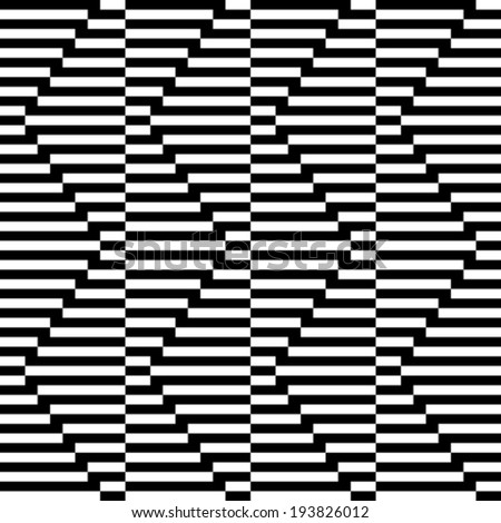 Pattern with line black and white in zigzag  - stock vector