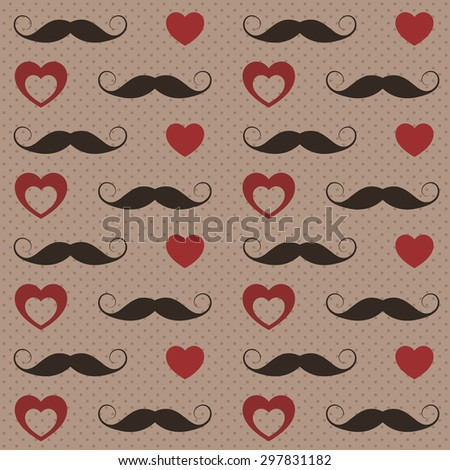 Pattern with mustaches and hearts - stock vector