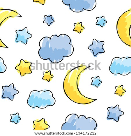 pattern with night sky elements, hand drawn vector illustration - stock vector
