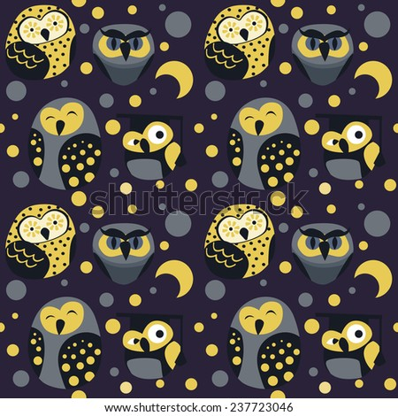 Pattern with owls on purple background - stock vector