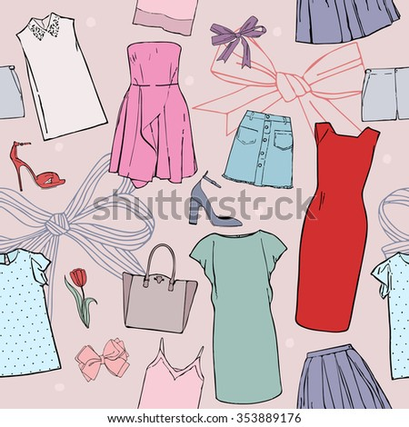 Pattern with pictures of clothes and accessories, dresses, blouses and tops, skirts, shorts, shoes, bags and bows - stock vector