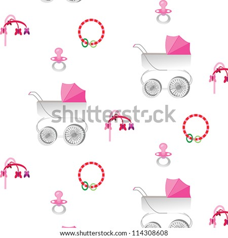 pattern with pink canopy baby stroller with pacifier, rattle and crib mobile