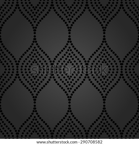 Pattern with seamless vector ornament. Modern stylish geometric background with black repeating dotted waves - stock vector