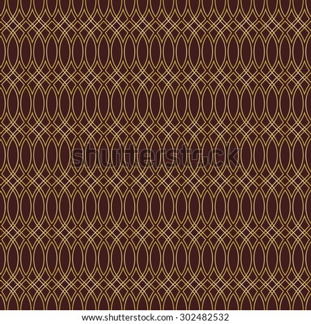 Pattern with seamless vector ornament. Modern stylish geometric background with repeating golden waves