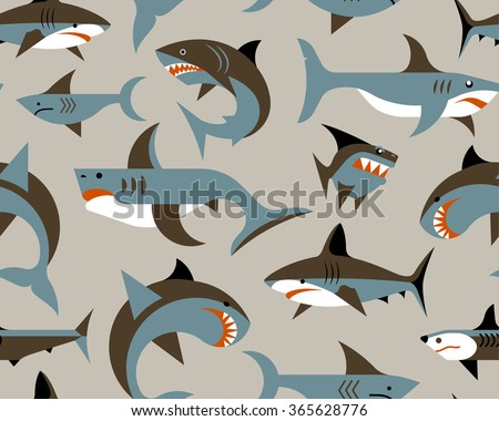 pattern with sharks - stock vector