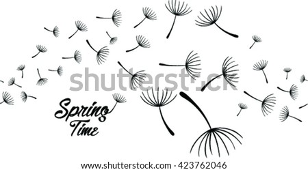 Pattern with stylized dandelions. Vector illustration.