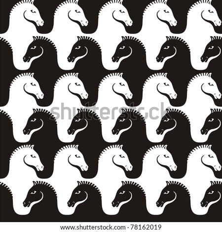 pattern with stylized horses, seamless - stock vector