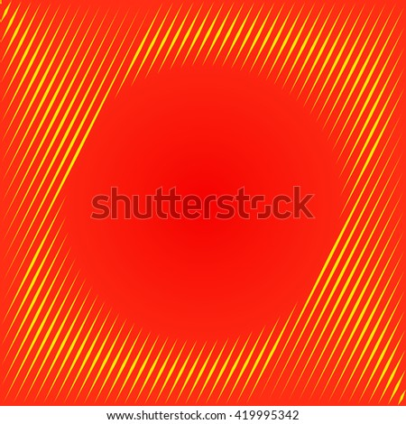 Pattern with symmetric geometric ornament. Red orange sharp lines and round spheres abstract background. 3d optical illusion effect wallpaper. Vector illustration - stock vector