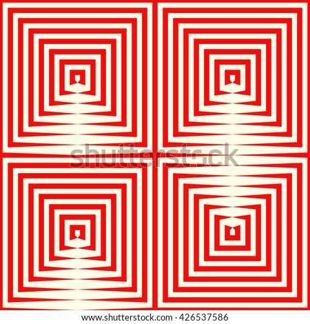 Pattern with symmetric geometric ornament. Repeating breaking red lines abstract background. Abstract repeated stylized squares wallpaper. Vector illustration - stock vector