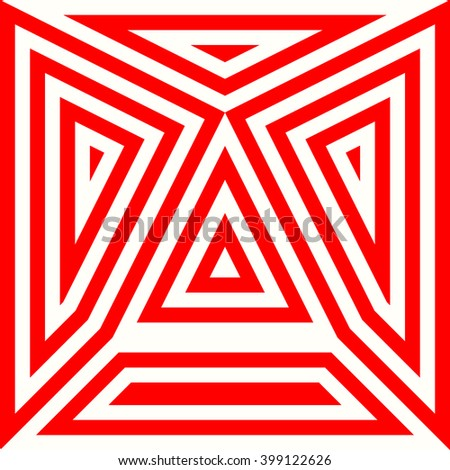 Pattern with symmetric geometric ornament. Striped red white abstract background. Abstract repeated triangles wallpaper. Vector illustration - stock vector