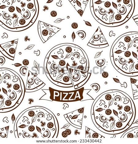 Pattern with  tasty pizza ans italian pizza ingredients. Vector. - stock vector