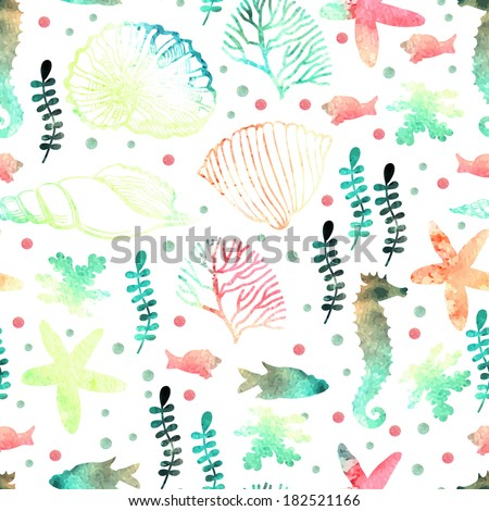 Pattern with watercolor marine motifs. Seamless pattern - stock vector