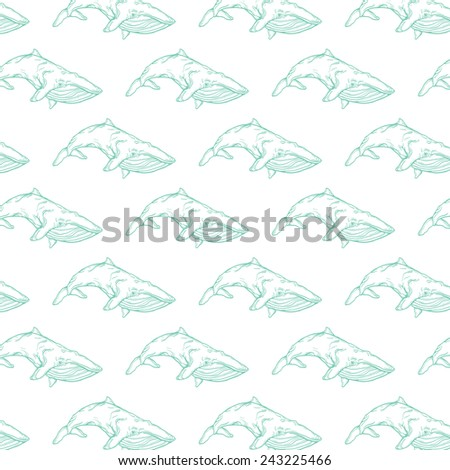 pattern with whales on white background. line art illustration. can be used like pattern for wrapping paper or textile design or for greeting cards - stock vector