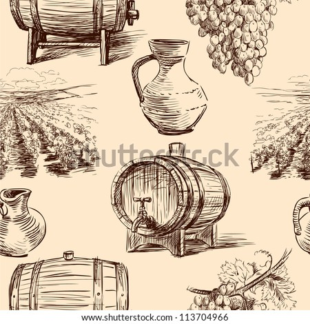 pattern with wine making - stock vector