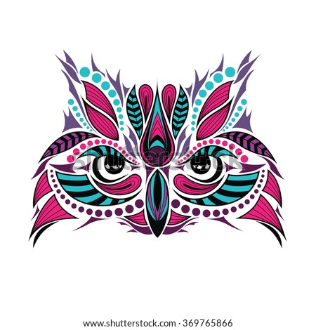 Patterned colored head of the owl. African / indian / totem / tattoo design. It may be used for design of a t-shirt, bag, postcard and poster.