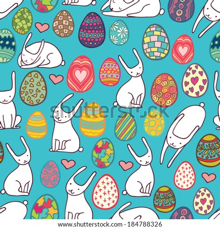 patterned eggs and rabbits seamless pattern - stock vector