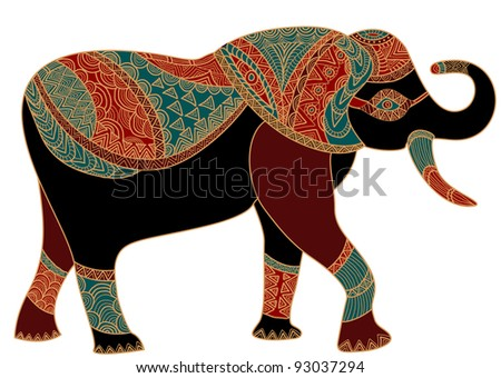 patterned elephant in the ethnic style brings happiness! - stock vector
