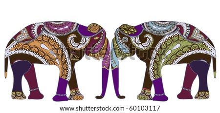 patterned elephants in ethnic style is a symbol of love and family - stock vector