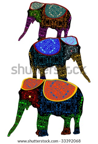 patterned elephants in the ethnic style of performing circus stunt - stock vector