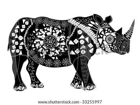 patterned ethnic animal is a good character in different religions - stock vector