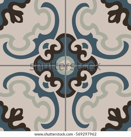Patterned Floor Wall Tiles Modern Decor Stock Vector 569297962 ...