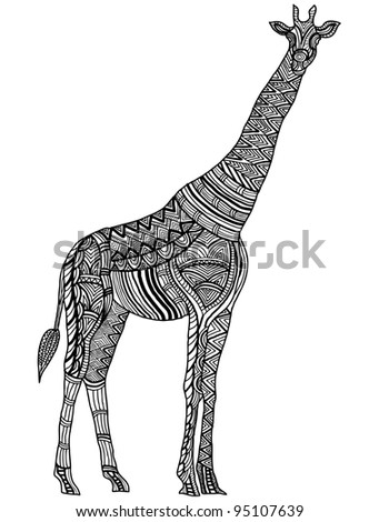 patterned giraffe in the ethnic style of hand-painted - stock vector