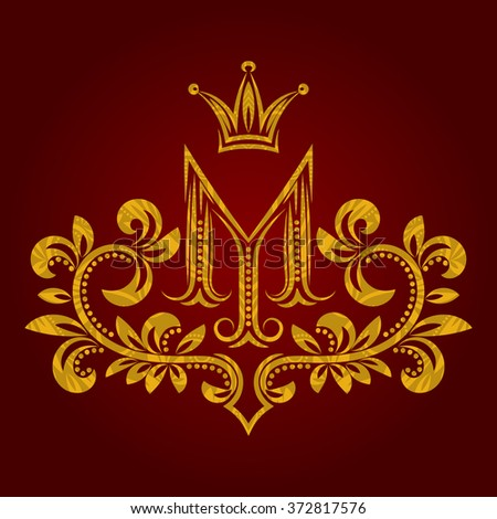 Patterned golden letter M monogram in vintage style. Heraldic coat of arms. Baroque logo template. - stock vector