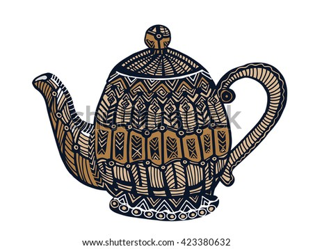 patterned kettle for coffee, tea or a drink! - stock vector