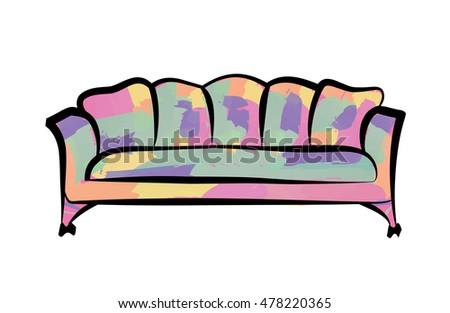 Patterned Luxury Sofa 1960 S Pop Art Stock Vector 478220365