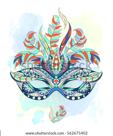 Watercolor peacock mask stock illustration 534634723 for Mardi gras mask tattoo