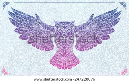 Patterned owl on the floral background.  Tattoo design. It may be used for design of a t-shirt, bag, postcard, a poster and so on. - stock vector