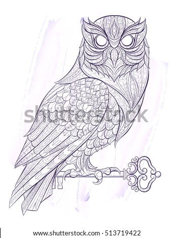 Patterned Owl With Key On The Grunge Background Tattoo Design It May Be Used
