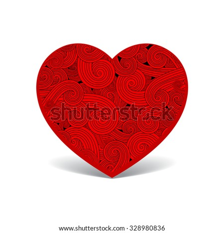 Patterned red heart - stock vector
