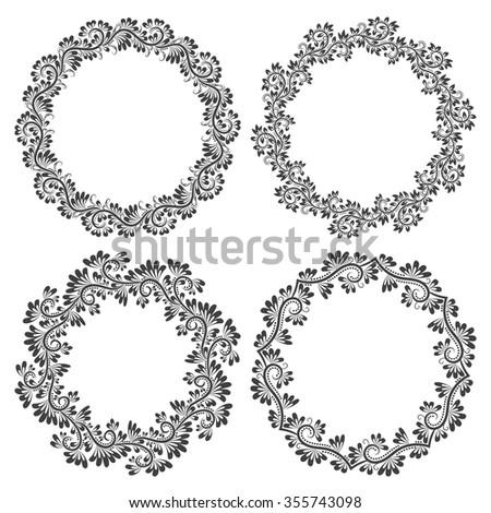 Patterned Round Frames Design Floral Vintage Stock Vector 355743098 ...