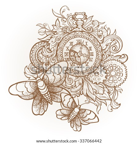 Patterned vintage clock with precious ornaments and gears and two moths.  Dotwork - stock vector