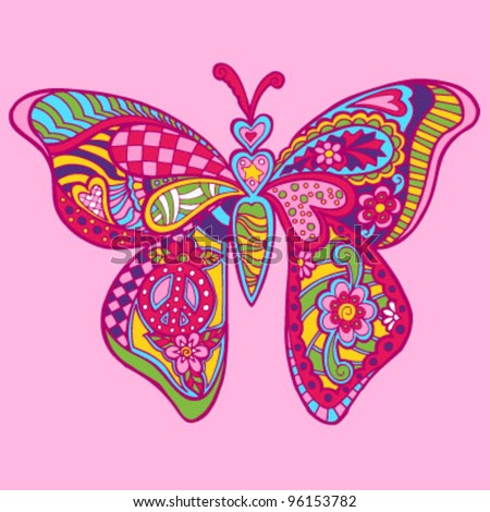 Patterned Whimsical Butterfly (Hand Drawn) - stock vector
