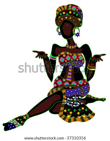 patterned woman in ethnic style, sitting on a white background - stock vector