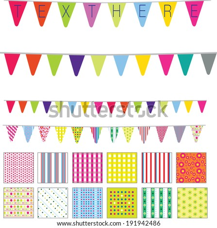 patterns and banners in a retro cute style, spots, stripes and flowers motifs - stock vector