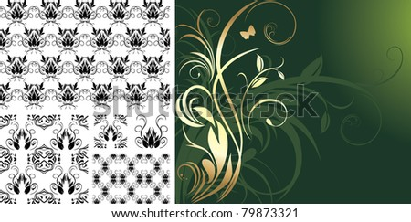 Patterns for design of decorative backgrounds. Vector - stock vector